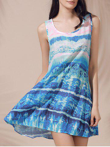 Sale Casual Scoop Neck Printed Sleeveless Sun Dress For Women