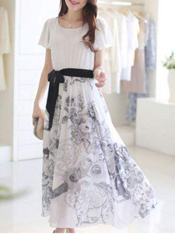 Store Sweet Short Sleeve Belt-Tie Floral Print Women's Chiffon Dress
