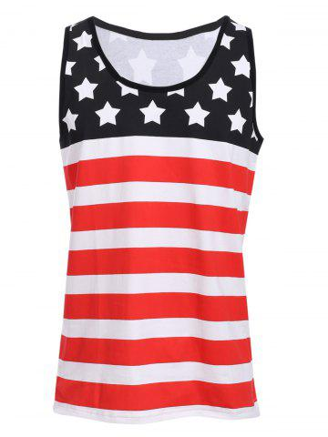 Sports Round Neck Stripes Star Print Color Block Tank Top For Men - Colormix - Xl