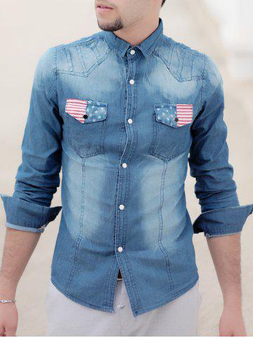 Online Turn-Down Collar Bleach Wash Flag Print Long Sleeve Pocket Men's Denim Shirt