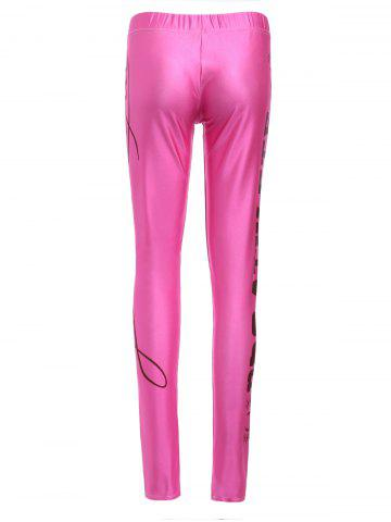 Outfit Sports Elastic Waist High-Waisted Letter Print Bodycon Women's Leggings - ROSE M Mobile