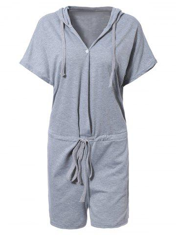Affordable Sporty Hooded Solid Color Drawstring Romper For Women GRAY XL