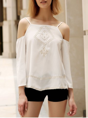Simple Spaghetti Strap Geometric Pattern Embroidered Women's Tank Top - White - S