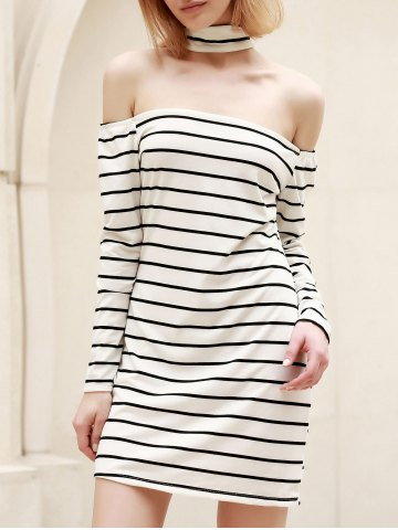 Affordable Long Sleeve Striped Bodycon Casual Dress