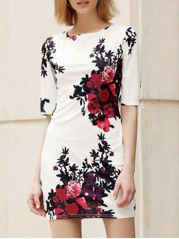 Shops Trendy Round Collar Floral Print Skinny Women's Dress