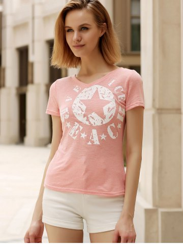 Cheap Casual V-Neck Short Sleeve Star T-Shirt For Women