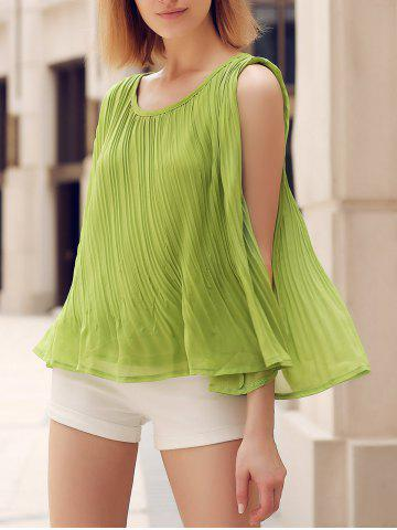 Outfit Chic Scoop Neck Pleated Solid Color Loose-Fitting Women's Tank Top
