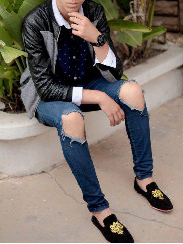 New Trendy Suede and Floral Print Design Men's Loafers - 42 BLACK Mobile