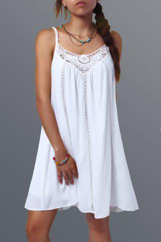 Spaghetti Strap Short Lace Splicing Shift Dress - White - S