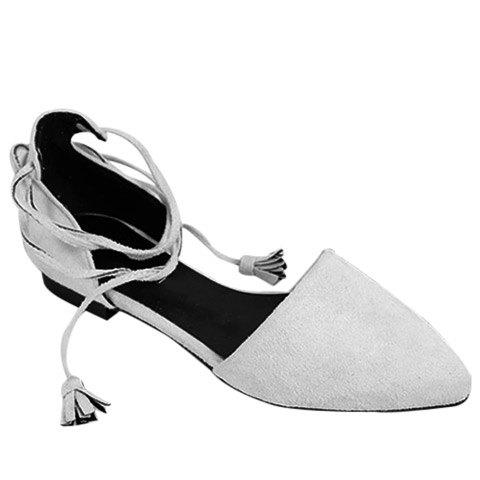 Online Tassels Lace Up Ballet Flats - 37 LIGHT GRAY Mobile