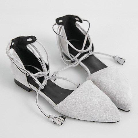 Shop Tassels Lace Up Ballet Flats - 39 LIGHT GRAY Mobile