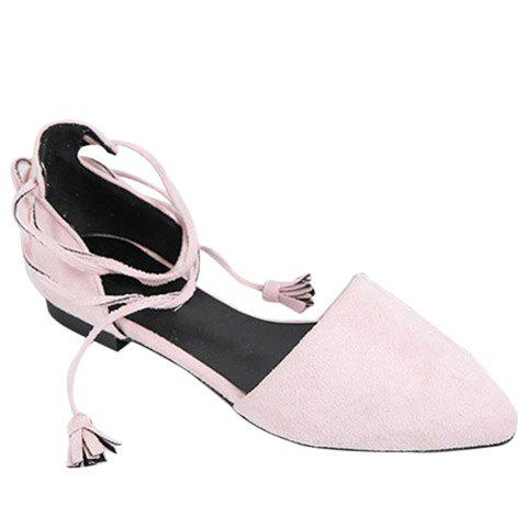 Unique Tassels Lace Up Ballet Flats