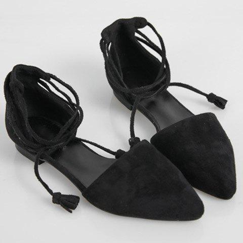 Outfit Tassels Lace Up Ballet Flats - 36 BLACK Mobile