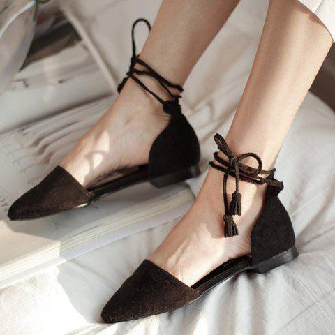 Outfit Tassels Lace Up Ballet Flats - 37 BLACK Mobile