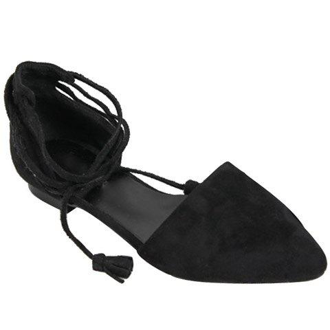 Shops Tassels Lace Up Ballet Flats - 37 BLACK Mobile