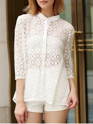 Fancy Trendy Stand Collar 3/4 Sleeve Lace Hollow Out White Cover-Up Blouse For Women