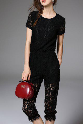 Online Lace T-Shirt and Capri Pants Suit
