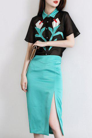 Store Patched Shirt and Slit Skirt Twinset