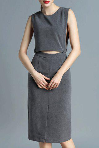 Fashion Crop Top and Skirt Twinset