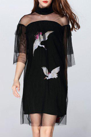 Trendy Birds Embroidered See-Through Dress