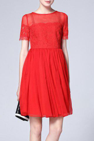Hot Lace Splicing Pleated Dress