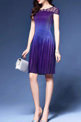 Outfits Pleated Lace Spliced Dress