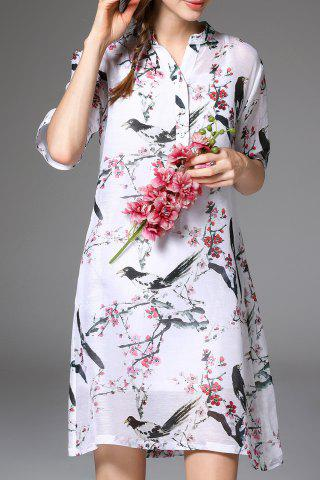 Outfit Linen-Blend Bird Print A-Line Dress