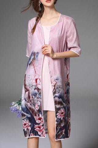 Sale Pink Open Front Longline Blouse and Cami Dress