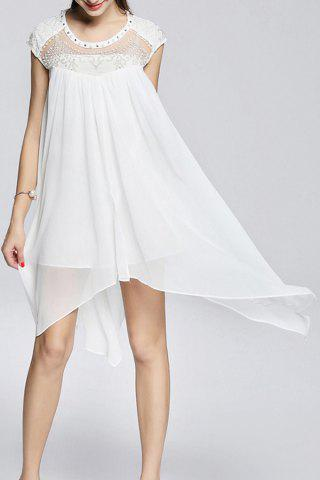 Sale Faux Pearl Beaded Asymmetric Dress