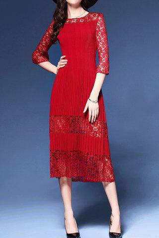 Best Pleated Lace Spliced Midi Dress