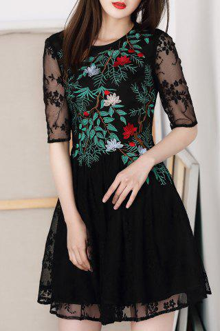 Shops Gauze Splicing Embroidered Dress