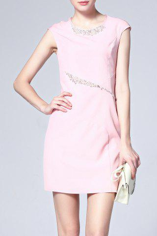 Store Beaded Solid Color Sheath Dress