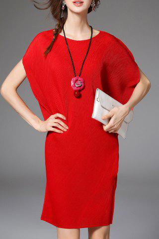 Outfits Solid Color Asymmetric Dolman Sleeve Dress