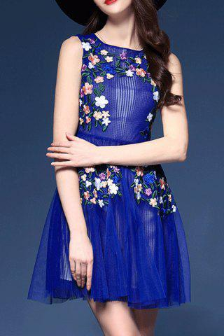 Small SAPPHIRE BLUE Floral Embroidered Sleeveless Dress
