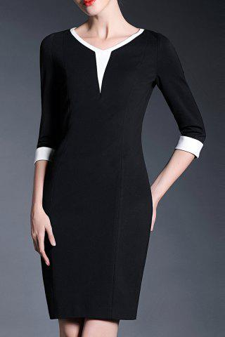Trendy V-Neck Sheath Work Dress