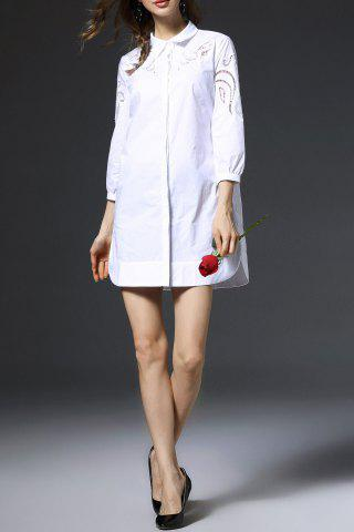 Outfit Three Quarter Sleeve Embroidered Openwork White Shirt