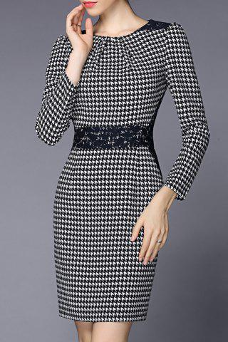 Store Lace Panel Houndstooth Sheath Dress