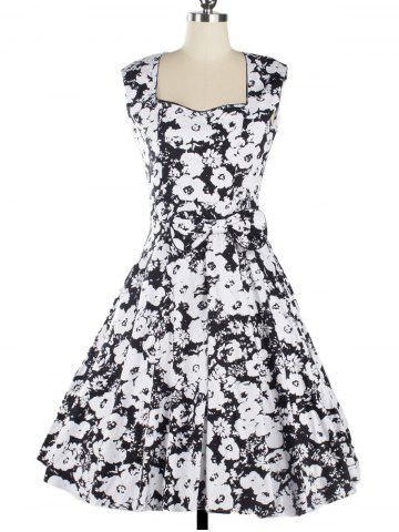 Outfits Vintage Floral Knee Length Fit and Flare Dress BLACK S