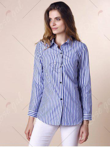 Chic Stripes Long Sleeve Formal Shirt - XL BLUE AND WHITE Mobile