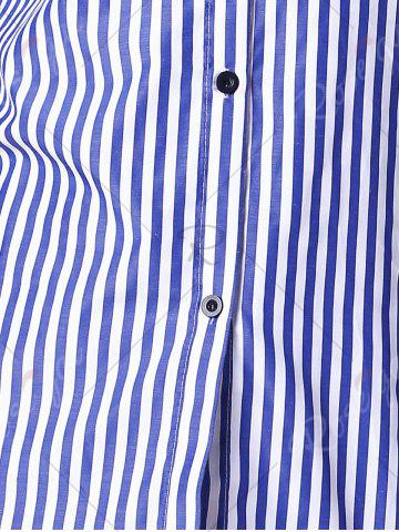 Hot Stripes Long Sleeve Formal Shirt - XL BLUE AND WHITE Mobile