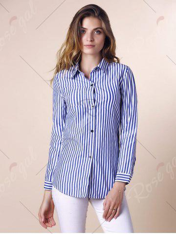 Sale Stripes Long Sleeve Formal Shirt - XL BLUE AND WHITE Mobile