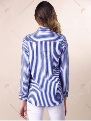 Store Stripes Long Sleeve Formal Shirt - XL BLUE AND WHITE Mobile