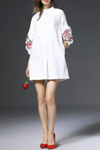 Store Lantern Sleeve Embroidered Shirt Dress WHITE S