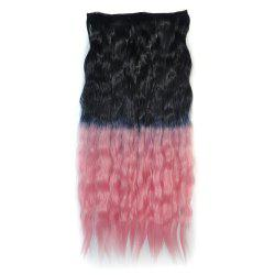 Fluffy Corn Hot Curly Clip On Capless Ombre Color Long Synthetic Hair Extension For Women - BLACK PINK OMBRE 1BT2311#