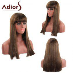 Trendy Straight Capless Full Bang Long Synthetic Adiors Wig For Women - AUBURN