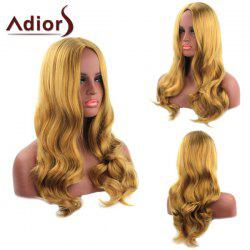Fashion Long Blonde Mixed Centre Parting Wavy Heat Resistant Synthetic Adiors Wig For Women -
