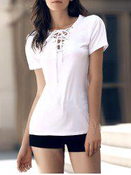 Stylish V-Neck Short Sleeves Lace-Up T-Shirt For Women