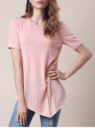 Trendy Round Collar Short Sleeve Button Design Asymmetrical Women's T-Shirt
