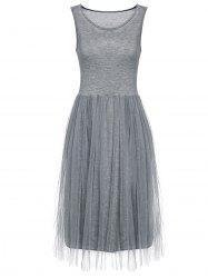 Refreshing Sleeveless Scoop Neck Voile Splice Women's Dress - GRAY