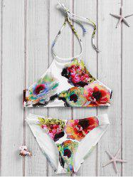 Simple Style Women's Backless Halter Floral Print Bikini Suit - WHITE S